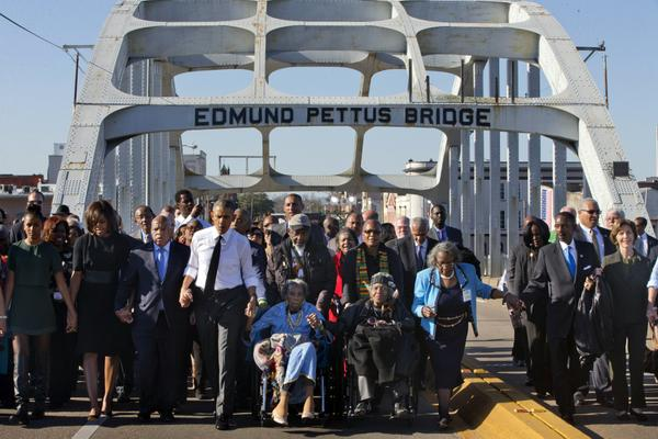 An equally historic crossing of the Edmund Pettus Bridge, 50 years later.
