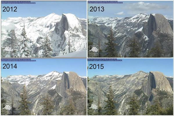 Snowpack at Yosemite National Park's Halfdome is going, going, gone.