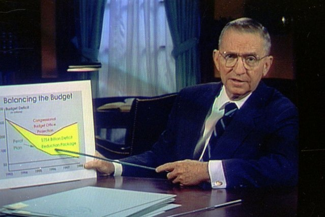 Independent presidential candidate H. Ross Perot with one of his ever-present economic charts.