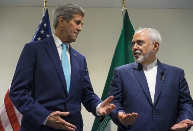 U.S. Secretary of StateJohn Kerry with his Iranian counterpart, Foreign Minister Javad Zarif.