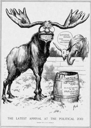 """Suffering snakes!"" says the elephant. ""How Theodore has changed!"" The water barrel refers to a controversial merger that established the International Harvester Company, done by George W. Perkins, a friend of Roosevelt's and chairman of the Progressive Party. Critics charged that the merger violated antitrust laws. (Edward Windsor Kemble, Harper's Weekly, 1912)"
