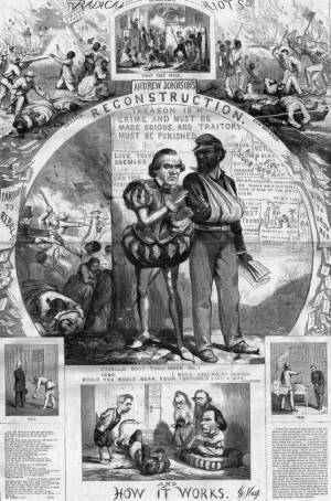 Andrew Johnson as the treacherous Iago to the black veteran. The small print quotes the words of both Shakespeare and Johnson himself. Apparently even an illiterate public was familiar with Shakespeare. (Thomas Nast, Harper's Weekly, 1866)