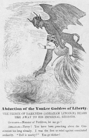 The devil in the details: Nothing subtle about Southern publications' portrayals of Lincoln. (Southern Punch, 1863)