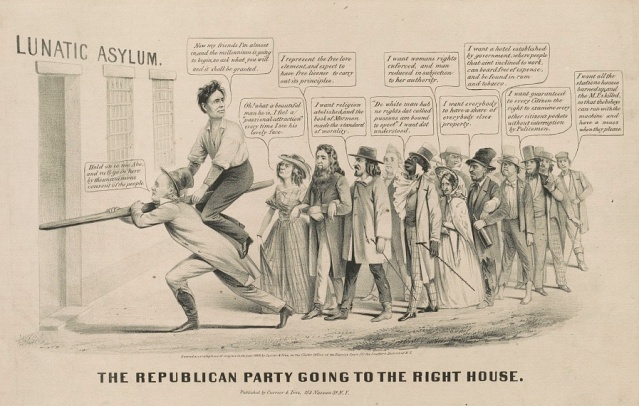 Abraham Lincoln was vilified during his time in office, as evidenced by this cartoon about his first election. Of course, many might draw the same conclusion about today's Republican Party. (Louis Maurer, Currier & Ives, 1860. Library of Congress, Prints and Photographs Division)