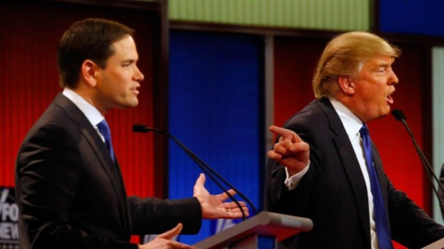 """HE STARTED IT!"" Donald Trump seems to be saying at the GOP debate."