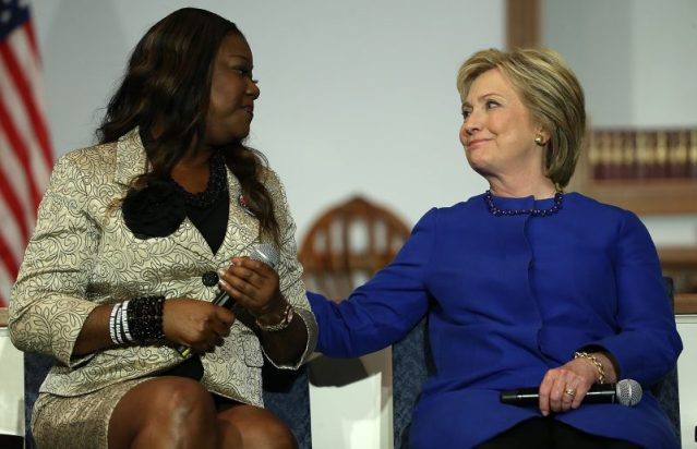 Hillary Clinton with Sybrina Fulton, the mother of shooting victim Trayvon Martin, before the South Carolina primary. (Win McNamee/Getty Images News/Getty Images)
