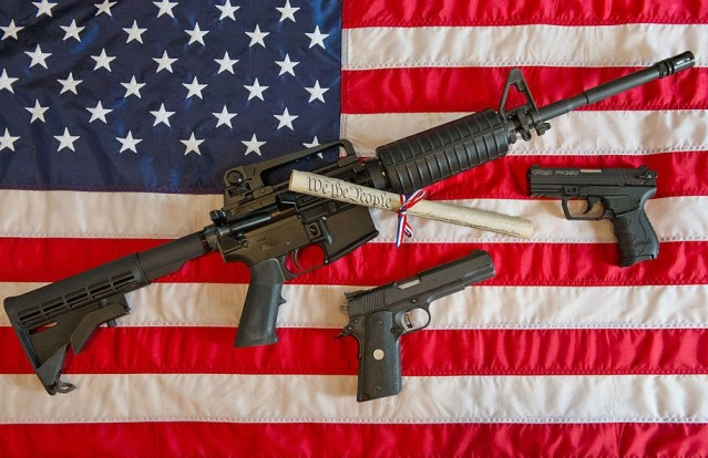 "An AR-15 and friends, or ""America's favorite rifle,"" as the NRA likes to call it."