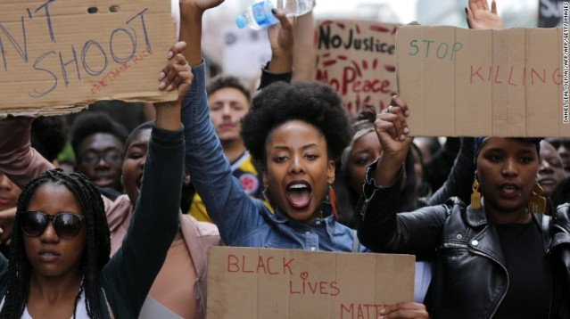Members of Black Lives Matter London marched to the U.S. Embassy to protest recent police killings in the United States.