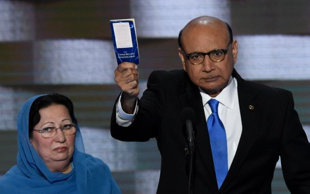 Ghazala and Khizr Khan at their appearance at the Democratic National Convention, suggesting Donald Trump should read the Constitution.