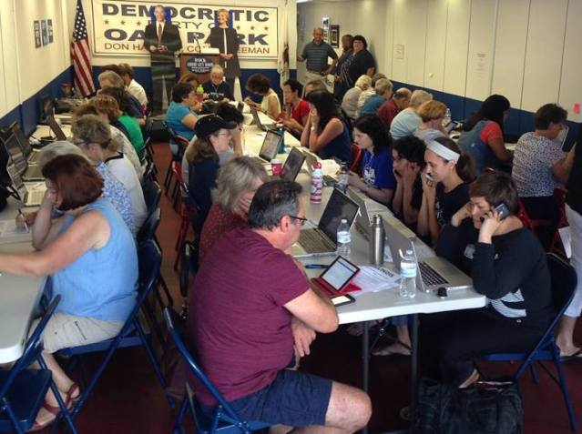 Could you stuff any more volunteers into that room? It's lucky that the life-size cutouts of Obama and Clinton are two-dimensional. (Photo courtesy Democratic Party of Oak Park)