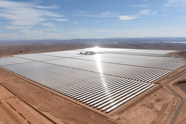 Solar mirrors in Morocco. Developing countries are learning that installing solar power is the most cost-effective method of generating electricity.