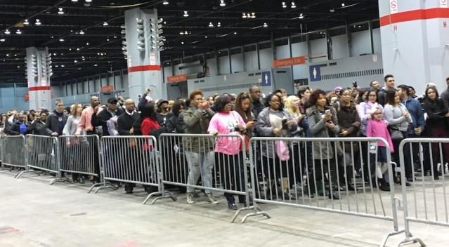 "This was the beginning of the line of the 20,000 or so people waiting to get into President Obama's farewell address. Some had lined up at early as 5 a.m. As police finally let them enter the security checkpoint, the crowd started chanting, ""Yes, we can."""