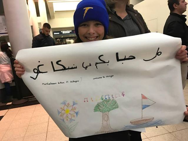 Members of Epiphany United Church of Christ in Chicago church welcomed their sponsored Syrian refugee family when they arrived at O'Hare Airport.