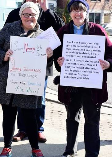 Church members at a rally against the Muslim travel ban.