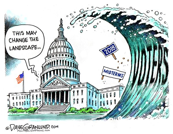 Image result for cartoons blue wave collapse against republicans in election